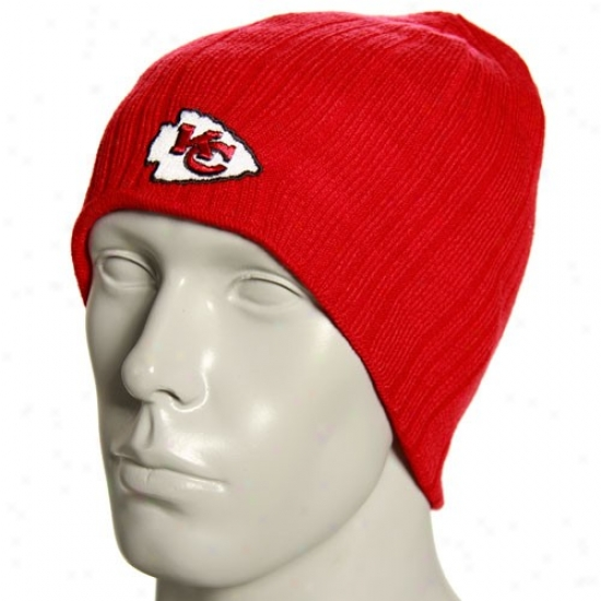 Kc Chiefs Gear: Reebok Kc Chiefs Red Block Knit Reversible Beanie