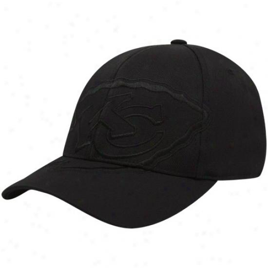 Kc Chiefs Hats : Reebok Kc Chiefs Black Tonal Structured Flex Fit Hats