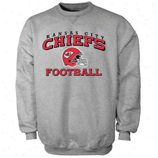 Kc Chiefs Hoody : Reebok Kc Chiefs Ash Stacked Helmet Crew Neck Hoody