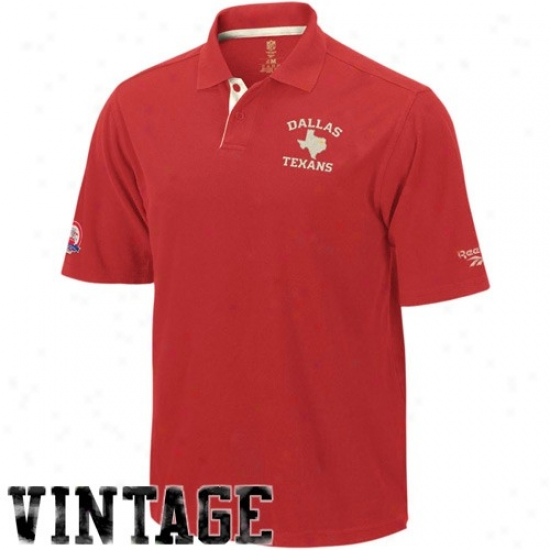 Kc Chiefs Polo : Reebok Dallas Texans Red Retro Logo Vintage Pique P0lo