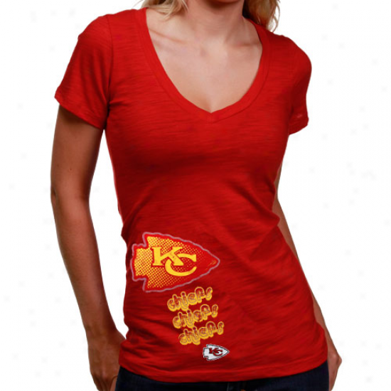 Kc Chiefs Tshirt : Kc Chiefs Ladies Red Triple Play V-neck Slub Tshirt