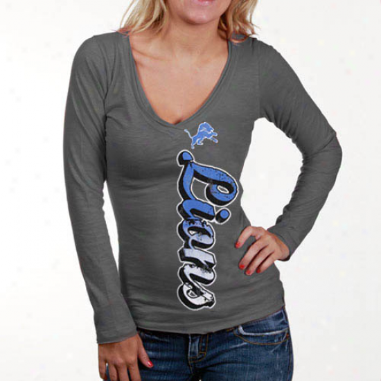 Lions Attire: iLons Ladies Gray Up And Down Slub V-neck Long Sleeve T-shirt
