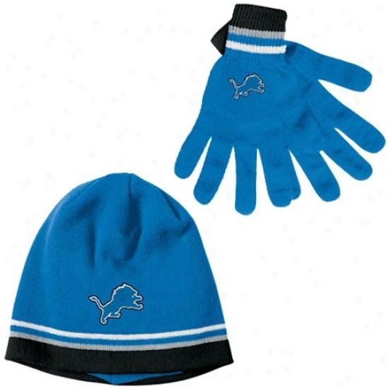 Liobs Hat : Reebok Lions Blue Gloves & Beanie Gift Set