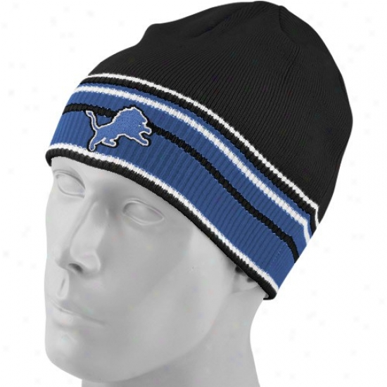 Lions Hats : Reebok Lions Black Multi Team Colors Knit Beanie