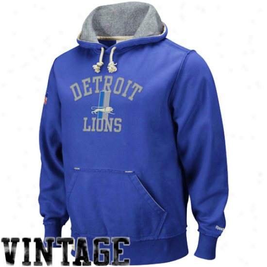 Lions Sweat Shirts : Reebok Lions Royal Blue Classic Vintage Sweat Shirts