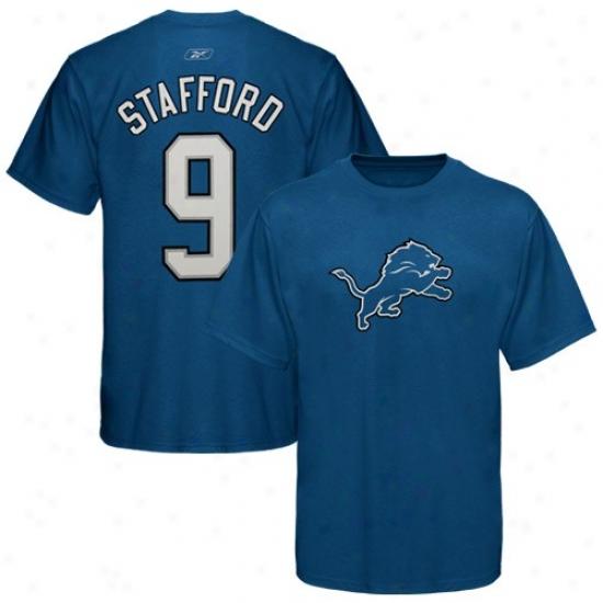 Lions Tshirt :R eebok Lions #9 Matt Stafford Light Blue Player Tshirt