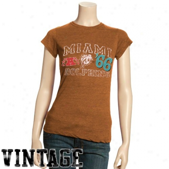 Miami Dolphin Apparel: Miami Dolphin Ladies Orange Established Vintage Tri-blend T-shirt