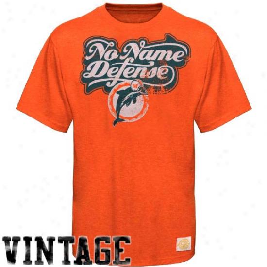 Miami Dolphin Apparel: Reebok Miami Dolphin Orange Team Slogan Tri-blend Premium T-shirt