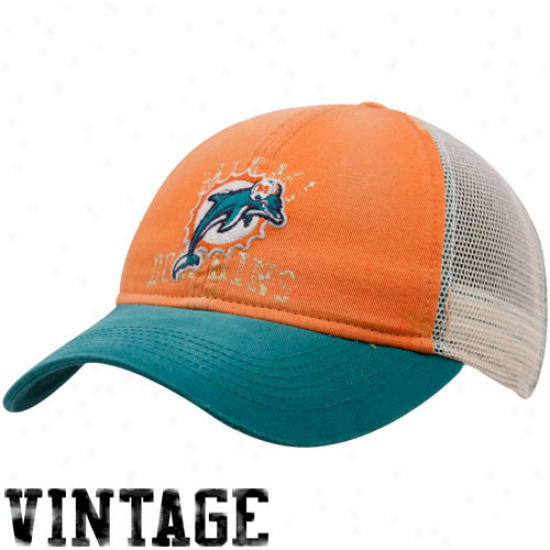 Miami Dolphin Caps : Reebok Miami Dolphin Ladies Orange-aqua Two-tone Slouch Mesh Back Adjustable Cap