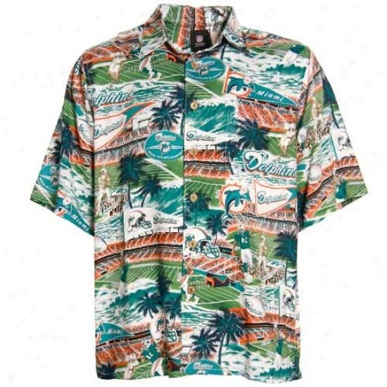 Miami Dplphin Golf Shirts : Reyn Spooner Miami Dolphin Aqua Scenic Print Hawaiian Button-up Shirt