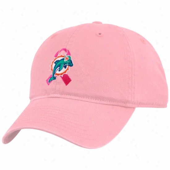 Miami Dolhim Hat : Miami Dolphin Ladies Paragon Breast Cancer Awareness Adjuwtable Hat
