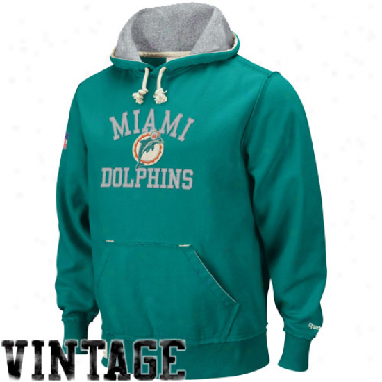 Miami Dolphin Hoody : Reebok Miami Dolphin Aqua Vintage Pullover Hoody