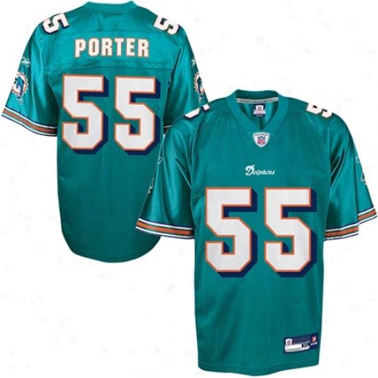 Miami Dolphin Jerseys : Reebok Miami Dolphin #55 Joey Porter Aqua Replica Football Jerseys