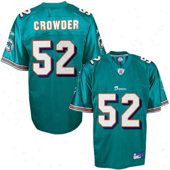 Miami Dolphin Jerseys:  Reebok Nfl Equipment Miami Dolphin #52 Channing Crowder Aqua Replica Football Jerseys