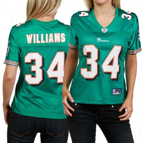 Miami Dolphin Jerseys : Reebok Ricky Williams Miami Dolphin Women's Replica Jerseys - Aqua