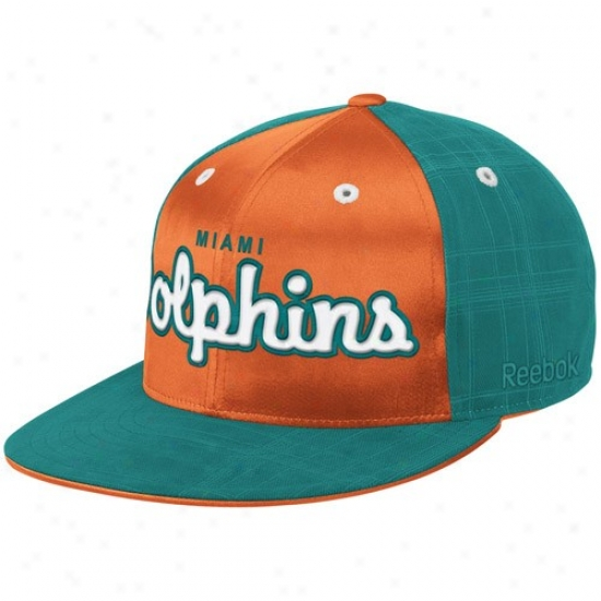 Miami Dolphin Merchandise  Reebok Miami Dolphin Aqua-orange Fashion Flat  Bill Fitted Hat a76a32983
