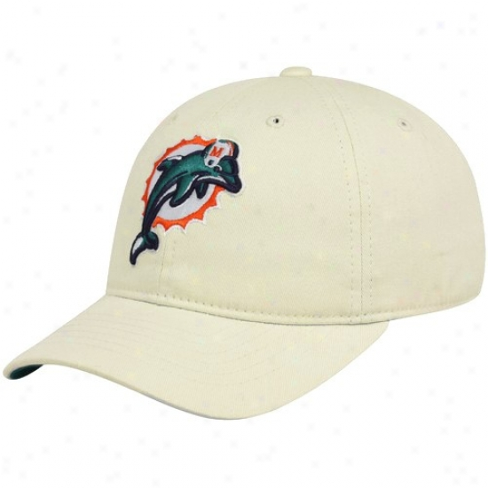 Miami Dolphin Merchandise: Reebok Miami Dolphin Youth Khaki Basic Logo Slouch Adjustable Hat