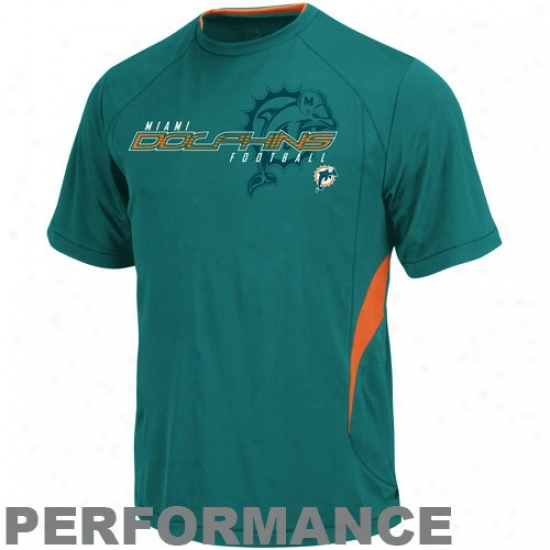 Miami Dollhin Shirts:  Miami Dolphin Aqua Fan Fare Iii Performance Shirts