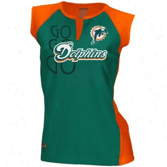 Miami Dolphin Shirts : Reebok Miami Dolphin Ladies Aqua-orange Two-toned Split Neck Shirts