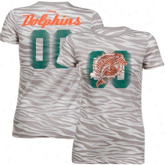 Miami Dolphin Shirts : Reebok Miami Dolphin Ladies Gray Field Flirt Animal Print Burnout Annual rate  Shirts