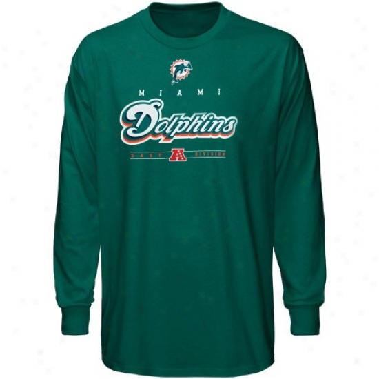 Miami Dolphin T-shirt : Miami Dolphin Aqua Dangerous Victory Iv Long Sleeve T-shirt