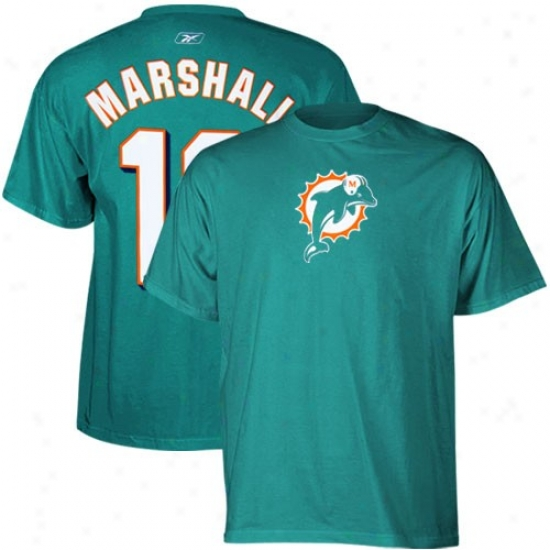 Miami Dolphin T Shirt : Reebok Miami Dolphin #19 Brandon Marshall Aqua Net Player T Shirt