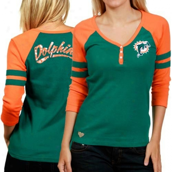 Miami Dolphin T-shirt : Reebok Miami Dolphin Ladies Aqau-orange 3/4 Sleeve Henley T-shirt