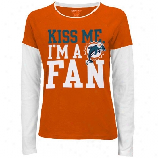 Miami Dolphin Tee : Reeboi Miami Dolphin Ladies Orange Hard To Get Long Sleeve Layered Tiesue Tee