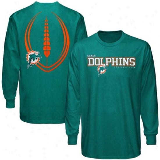 Miami Dolphin Tees : Reebok Miami Dolphin Aqua Ballistic Long Sleeve Tees