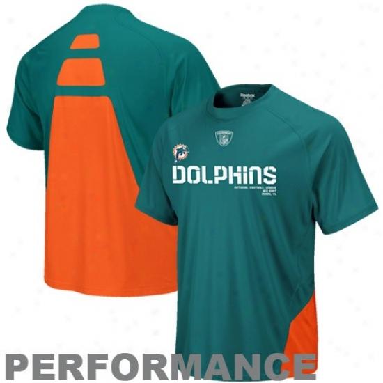 Miami Dolphin Tshirt : Reebok Miami Dplphin Aqua Conflict Sideline Pefrrmance Tshirt