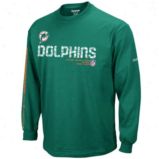 Miami Dolphin Tshirt : Reebok Miami Dolphin Youth Aqua Sideline Tacon Long Sleeve Tshirt