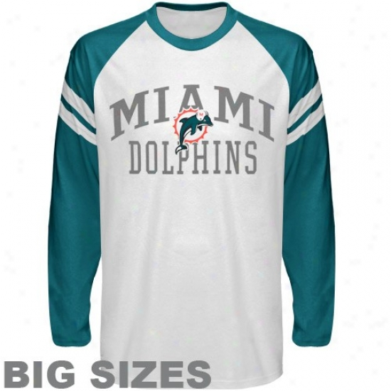 Miami Dolphin Tshirts : Miami Do1phin White Wide Stripe Logo Big Sizes Long Sleevve Tshirst
