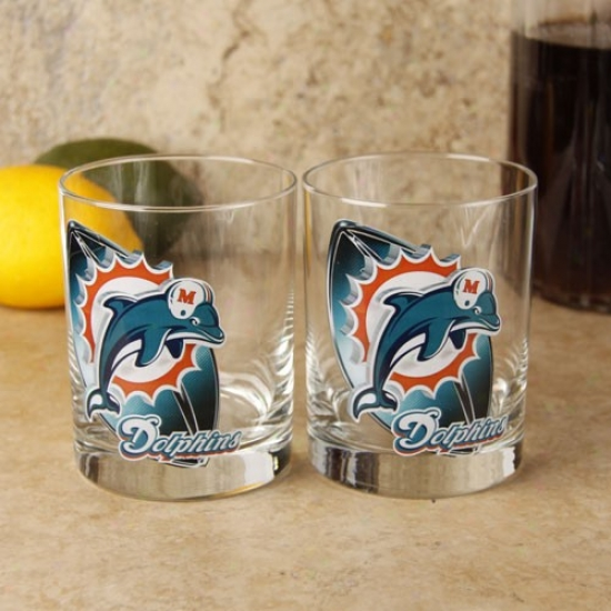 Miami Dolphins 2-pack Enhanced High Definition Executive Glass Set