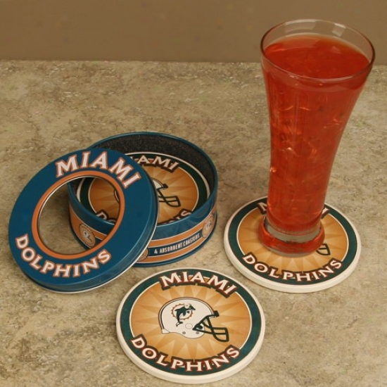 Miami Dolphins 4-pack Coasters With Tin