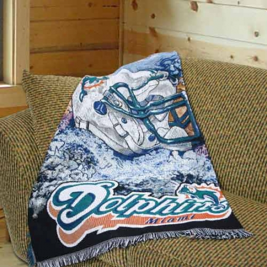 """miami Dolphins 48""""x60"""" Acrylic Triple Woven Home Field Advantage Blanket Throw"""