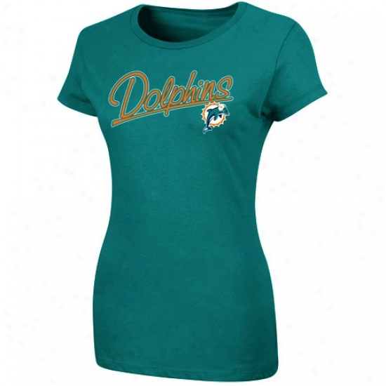 Miami Dolphins Apparel: Miamu Dolphins Ladies Aqua Franchise Fit T-shirt