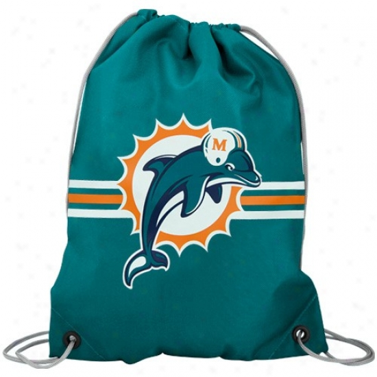 Miami Dolphins Aqua Team Logo Drawstring Backpack