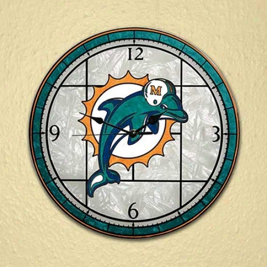 Miami Dolphins Art-glass Clock