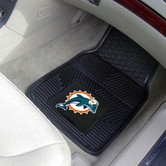 Miami Dolphins Black 2-piece Vinyl Car Mat Set