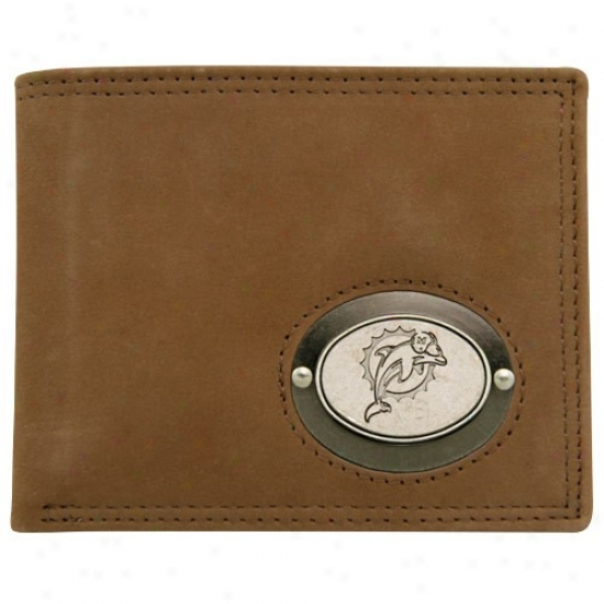 Miai Dolphins Brown Leather Metal Emblem Billfold Wallet