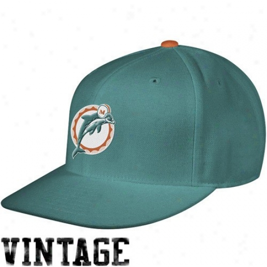 Miami Dolphins Cap : Mitchell & Ness Miami Dolphins Aqua Vintage Logo Fitted Cap
