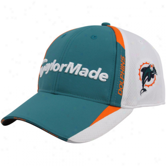 Miami Dolphins Caps : Taylormade Miami Dolphins Aqua-white 2010 Nfl Golf Adjustable Caps