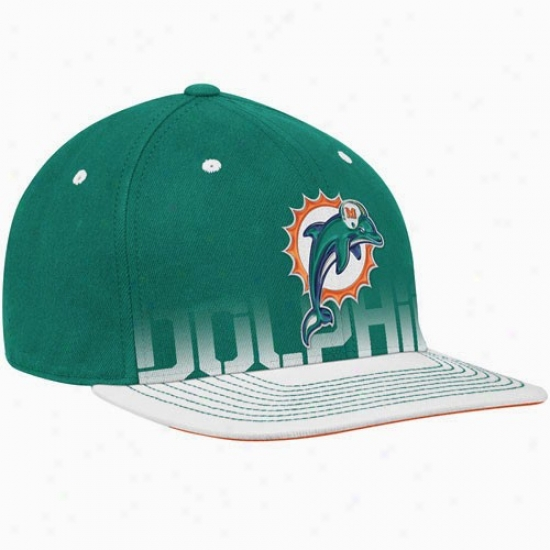 Miami Dolphins Gear: Reebok Miami Dolphins Youth Aqua Pro Shape Player Flat Brim Flex Hat