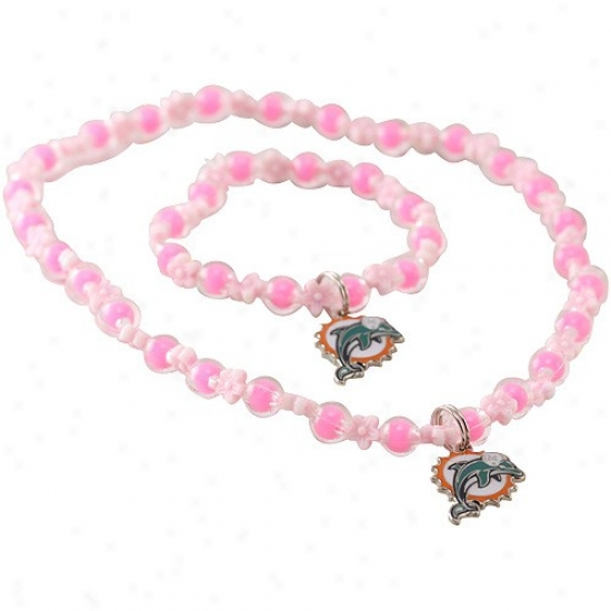 Miami Dolphins Girls Pink Sophie Beaded Team Logo Bracelet & Necklace Set