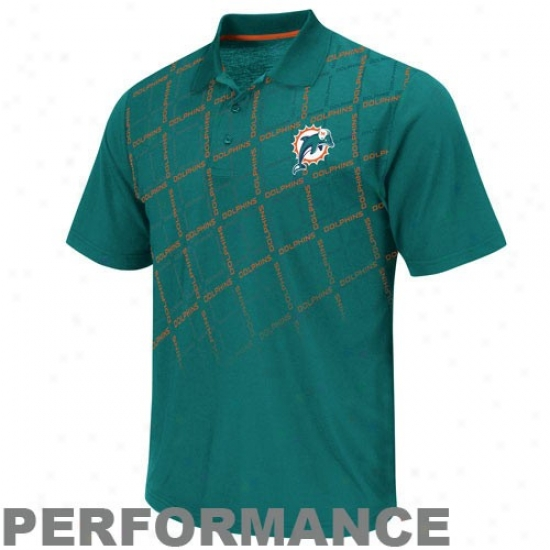 Miami Dolphins Golf Shirts : Miami Dolphins Aqua Team Tek Ii Performance Golf Shirts