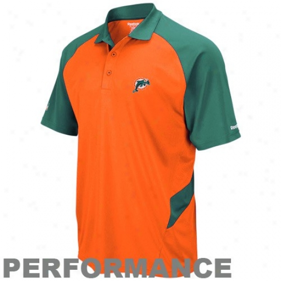 Miami Dolphins Golf Shirts : Reebok Miami Dolphins Orange-aqua Sideline Statement Performance Golf Shirts