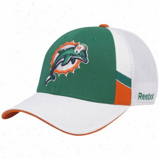 Miami Dolphins Hats : Reebok Miami Dolphins Aqua-white Structured Mesh Back Flex Fit Hats