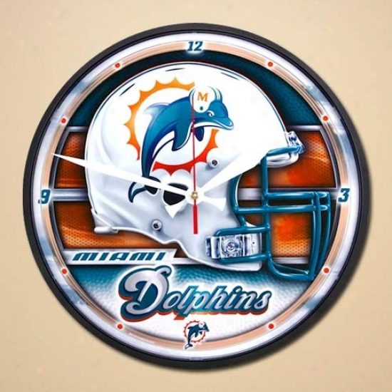 Miami Dolphins Helmet Wall Clock