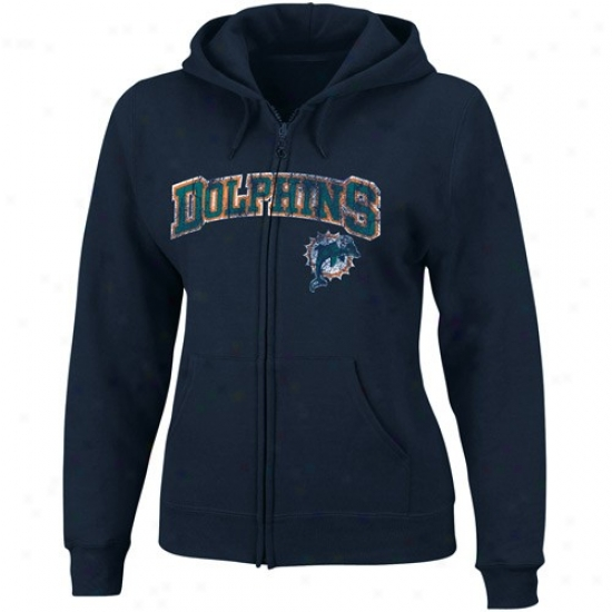 Miami Dolphns Hoodie : Miami Dolphins Ladies Navy Blue Football First-rate Ii Full Zip Hoodie