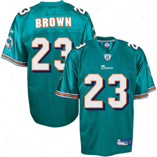 Miami Dolphins Jersey : Reebok Nfl Equipment Miami Dolphins #23 Ronnie Brown Aqua Replica Football Jersey
